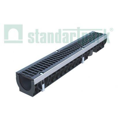 Лоток пластиковый с чугунной решеткой DN100, H136 DRIVE