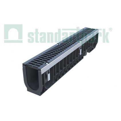 Лоток пластиковый с чугунной решеткой DN100, H216 DRIVE
