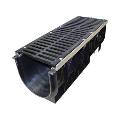 Лоток водоотводной пластиковый с чугунной решеткой с усиливающими насадками (комплект) H375,DN300