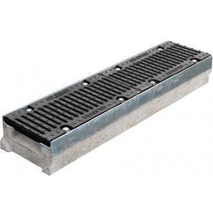 Лоток бетонный 0415 Super в комплекте с чугунной решеткой DN150