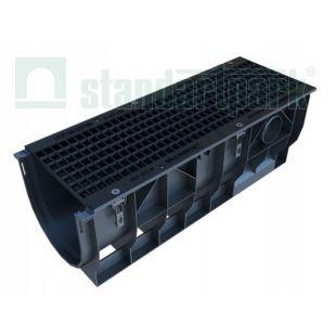 Лоток водоотводной пластиковый с чугунной решеткой H378,DN300